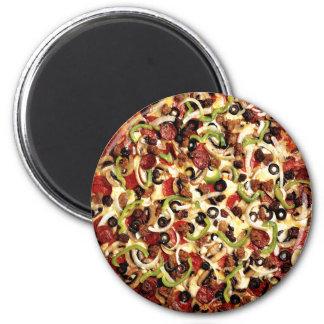 Pizza con las aceitunas imán redondo 5 cm