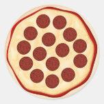 Pizza con los salchichones pegatinas redondas