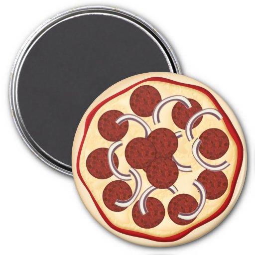 Pizza con los salchichones y las cebollas imán redondo 7 cm