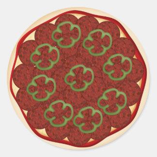 Pizza con los salchichones y las pimientas etiquetas redondas