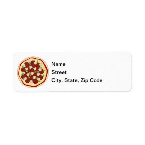 Pizza con los salchichones y las setas etiquetas de remite