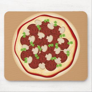 Pizza con los salchichones y las setas alfombrilla de raton