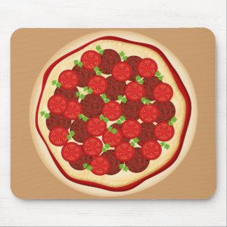 Pizza con los salchichones y los tomates tapetes de raton