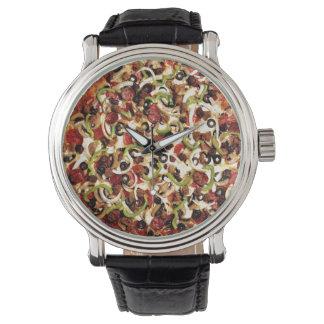 Pizza con los trabajos relojes