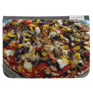 Pizza, con queso Feta, aceitunas, pimiento