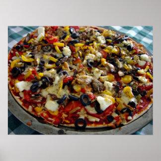 Pizza, con queso Feta, aceitunas, pimiento Posters