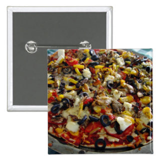 Pizza, con queso Feta, aceitunas, pimiento Pin