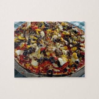 Pizza, con queso Feta, aceitunas, pimiento Puzzle Con Fotos