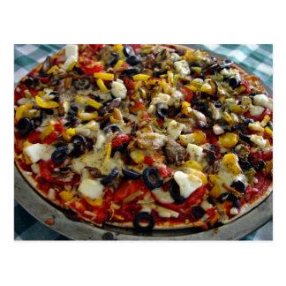 Pizza, con queso Feta, aceitunas, pimiento Tarjeta Postal