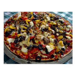 Pizza, con queso Feta, aceitunas, pimiento Tarjetas Postales