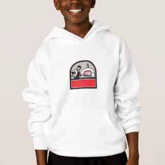 Pizza Cook Peel Wood Fired Oven Crest Retro Hoodie
