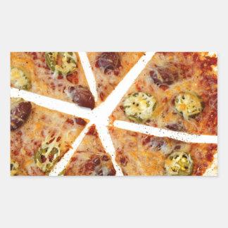 Pizza cortada de la tortilla pegatina rectangular