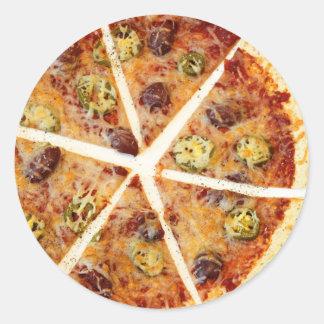 Pizza cortada de la tortilla pegatina redonda