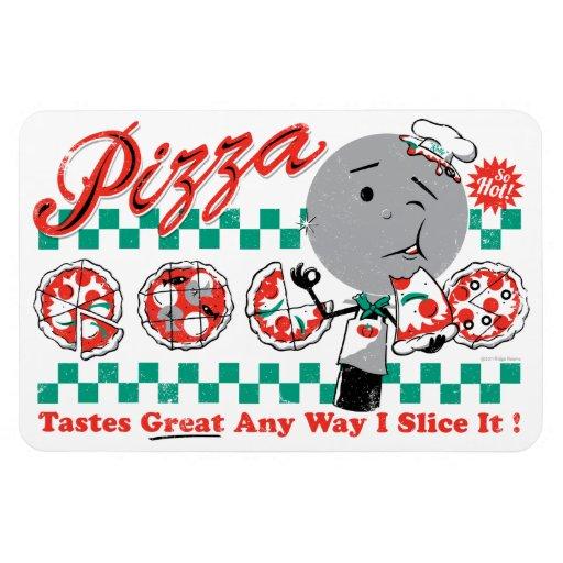 Pizza cualquier rebanada de la manera I él imán su