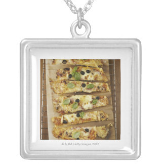 Pizza cut into pieces silver plated necklace