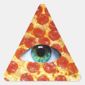 Pizza de Illuminati Pegatina Triangular