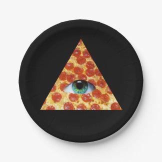 Pizza de Illuminati Platos De Papel