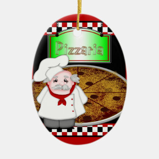Pizza de Italiano del cocinero - ornamentos ovales Ornamento Para Arbol De Navidad