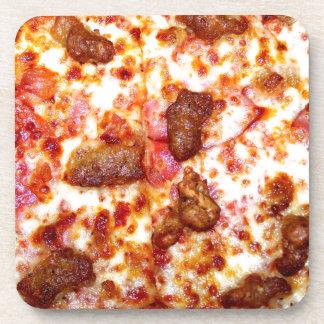 Pizza de la carne posavasos de bebida