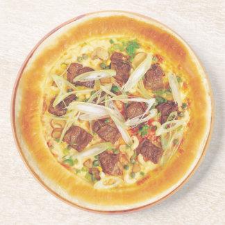 Pizza de la carne posavasos diseño