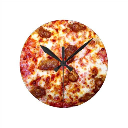 Pizza de la carne relojes