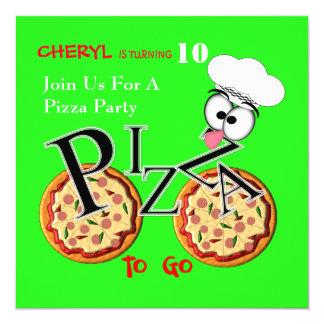 """Pizza de la diversión a ir fiesta temático invitación 5.25"""" x 5.25"""""""