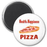 Pizza de la felicidad de la salud iman de nevera
