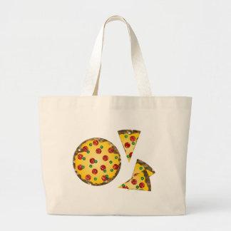 pizza de la lentejuela bolsa tela grande