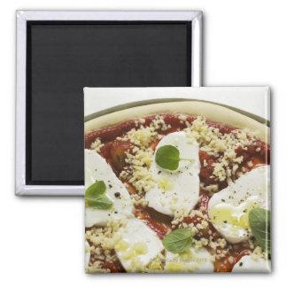 Pizza de la mozzarella (cruda) imán cuadrado