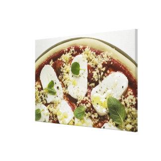 Pizza de la mozzarella (cruda) impresión en lienzo estirada