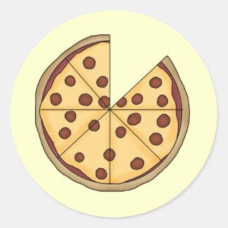 Pizza de la pizza de la pizza etiqueta redonda