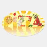 Pizza de la sol calcomanías óvales personalizadas