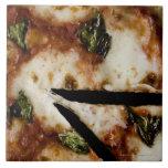 pizza de queso madera-encendida azulejo cuadrado grande