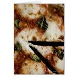 pizza de queso madera-encendida tarjeta de felicitación