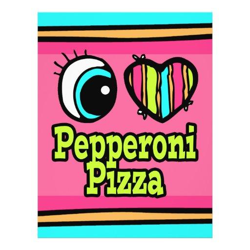 """Pizza de salchichones brillante del amor del coraz folleto 8.5"""" x 11"""""""
