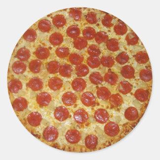 Pizza de salchichones deliciosa de la pizza… pegatinas redondas