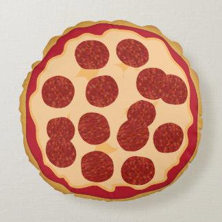 Pizza de salchichones divertida de la comida cojín redondo