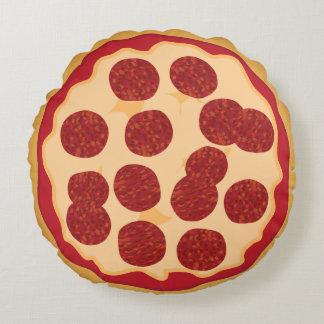 Pizza de salchichones linda de Kawaii para los Cojín Redondo