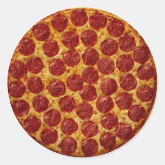 Pizza de salchichones pegatina redonda