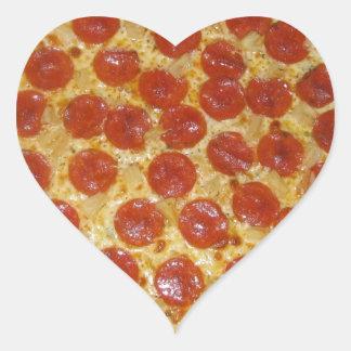 Pizza de salchichones pegatina en forma de corazón