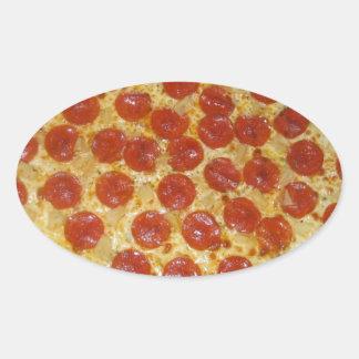 Pizza de salchichones calcomania de óval personalizadas