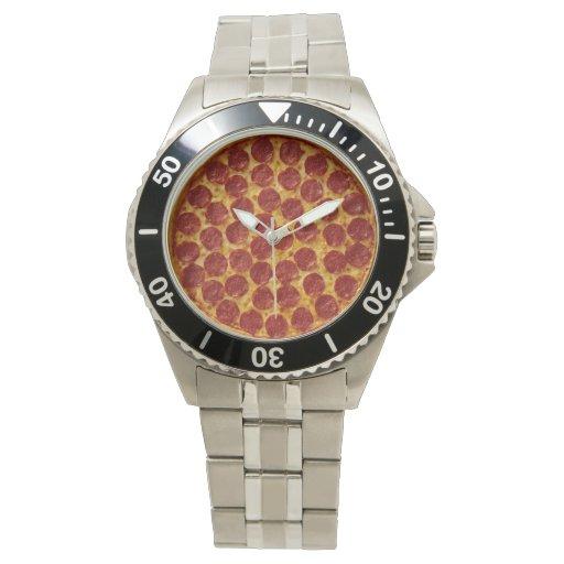 Pizza de salchichones relojes de pulsera