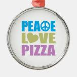 Pizza del amor de la paz adorno de navidad