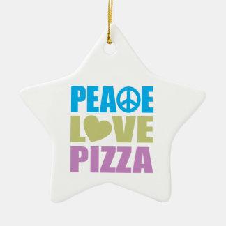 Pizza del amor de la paz adorno de cerámica en forma de estrella