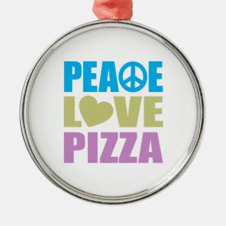 Pizza del amor de la paz adorno redondo plateado