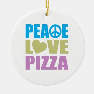 Pizza del amor de la paz ornamento de navidad