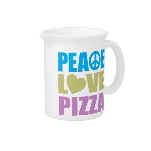 Pizza del amor de la paz jarra para bebida