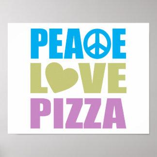 Pizza del amor de la paz poster