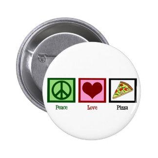 Pizza del amor de la paz pin redondo de 2 pulgadas