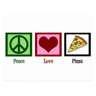 Pizza del amor de la paz postales